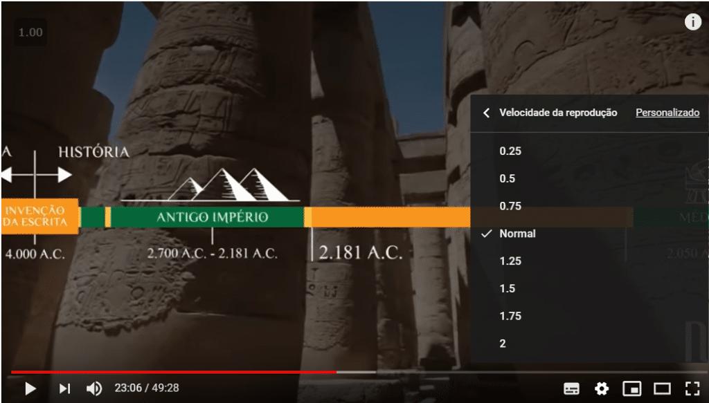 Print de tela mostrando a opção do You Tube que ajusta a velocidade de reprodução. Uma técnica para estudar por videoaulas.