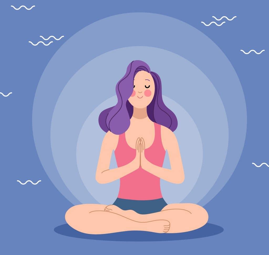 Garota de pernas cruzadas e mãos juntas meditando.