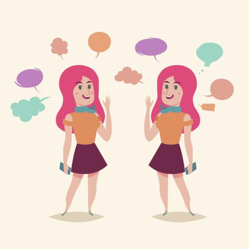 Garota olhando para ela mesma num espelho e conversando.