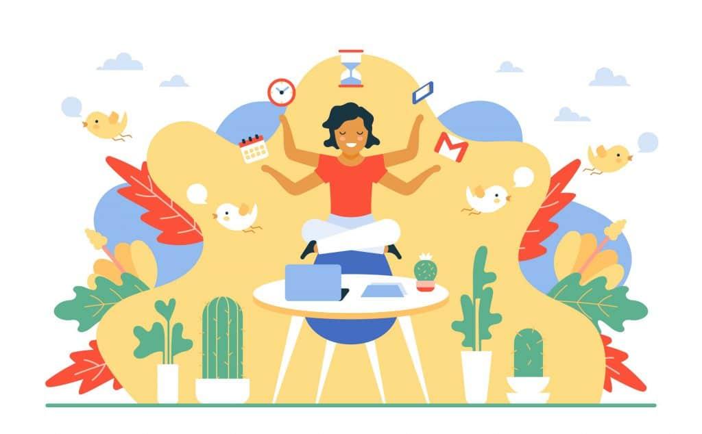 Moça sentada de pernas cruzadas meditando e flutuando no ar. Ela tem 4 braços e em cada um deles há: logotipo do Gmail, celular, ampulheta, relógio e calendário de papel. A imagem representa como manter o foco.