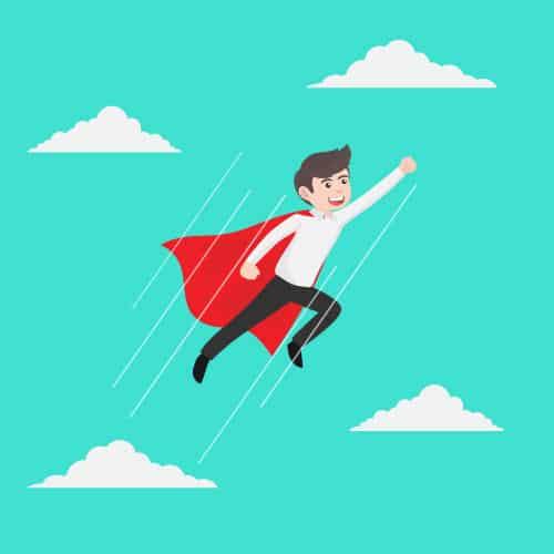 Garoto com capa de super heroi voando pelo céu com um braço levantado e aspecto de confiança.