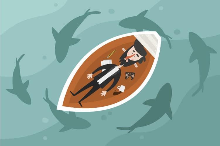 Homem deitado dentro de um barco com expressão de medo. Há papeis, lápis, um par de óculos e café derramado dentro do barco. No mar, vários tubarões circundam o barco. Os tubarões representam os problemas pessoais inimigos do aprendizado.