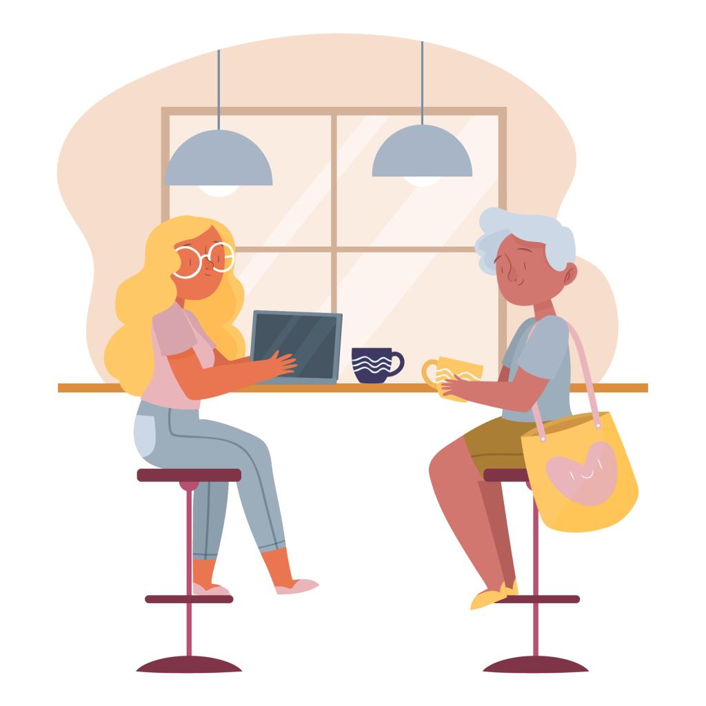 Duas moças conversando em um café. As duas têm xícaras na mão. Uma delas usa óculos e segura um computador, a outra tem uma grande bolsa em seu ombro. A imagem representa uma conversa sobre dicas de alimentação e saúde.