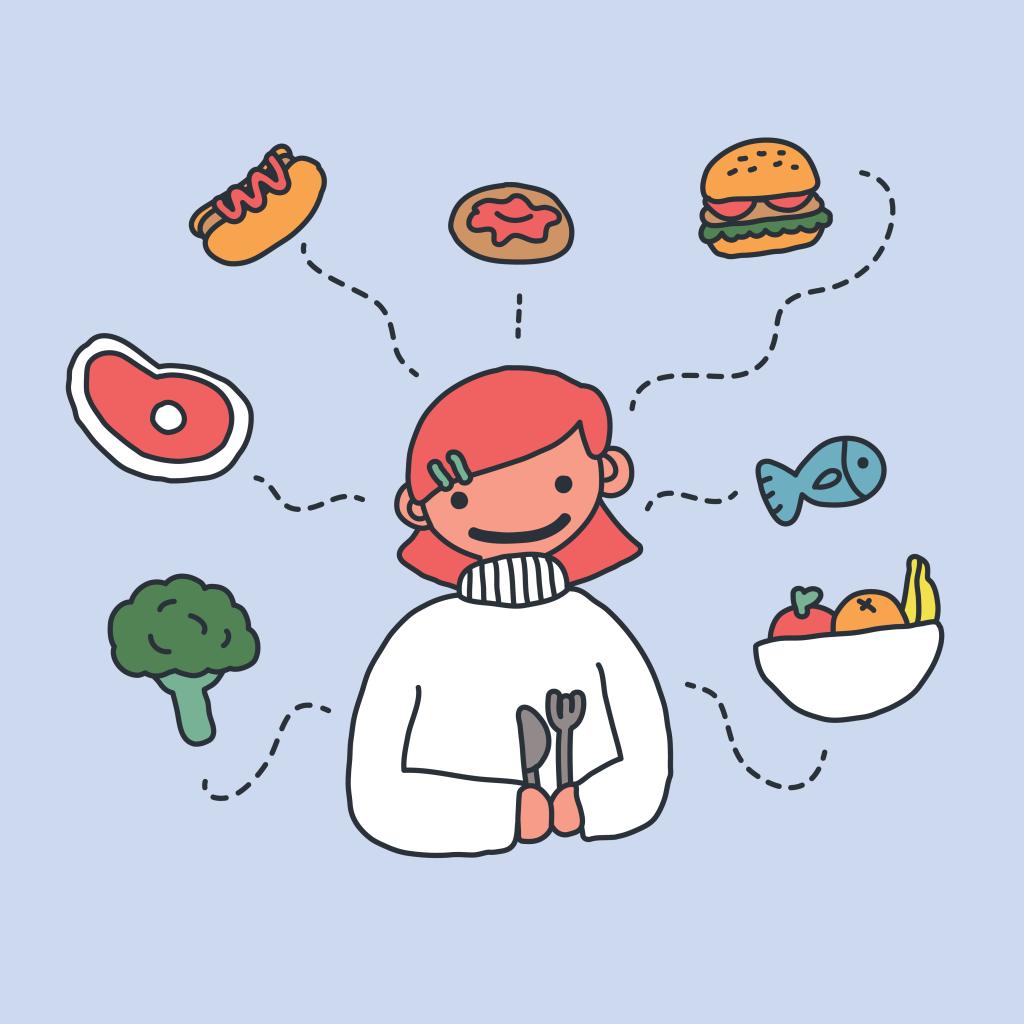 Garota segurando garfo e faca. Há alimentos flutuando ao redor dela: bife, frutas, peixe, brócolis, sanduíche, donut e cachorro quente.
