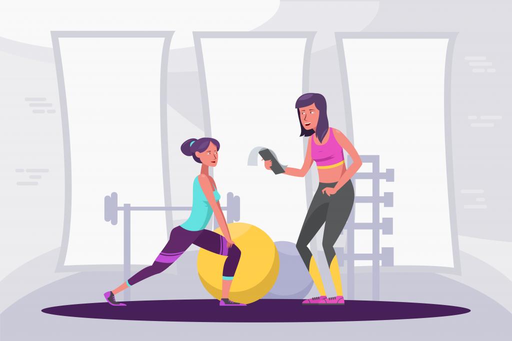 Duas moças treinando na academia. Uma observa a lista de exercícios em um papel e a outra faz agachamento.