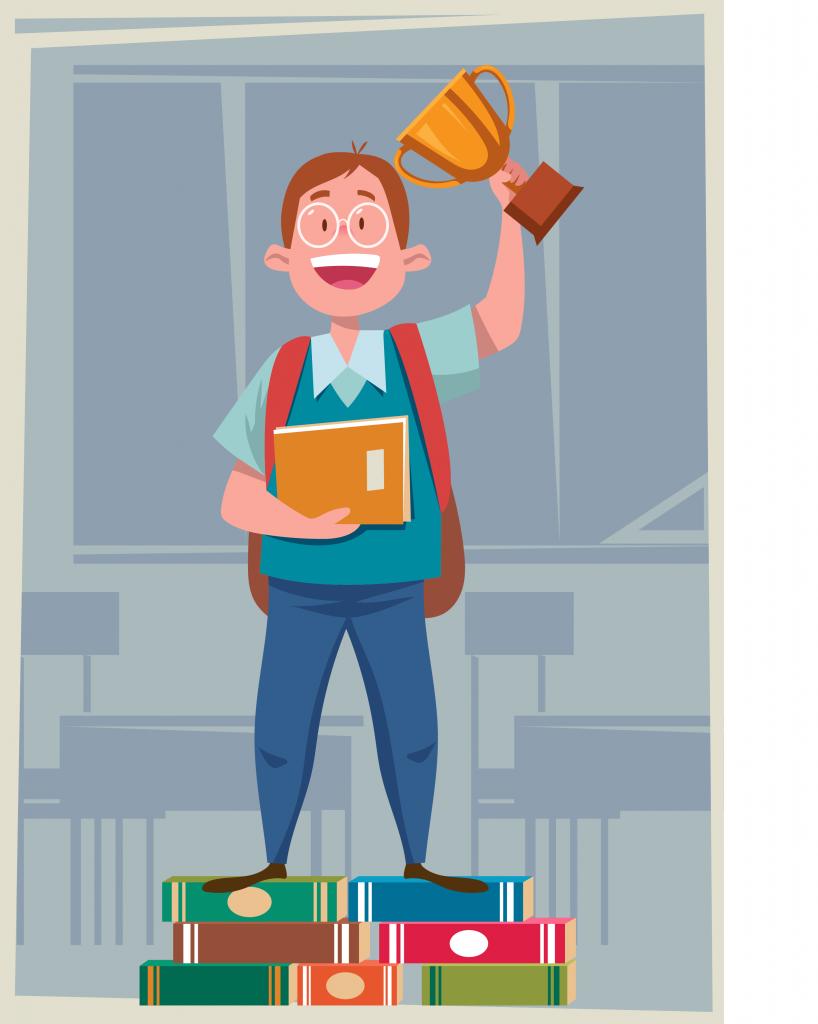 Garoto com troféu na mão. Ele está em pé em cima de livros e feliz pela vitória: conseguir mais tempo para estudar.