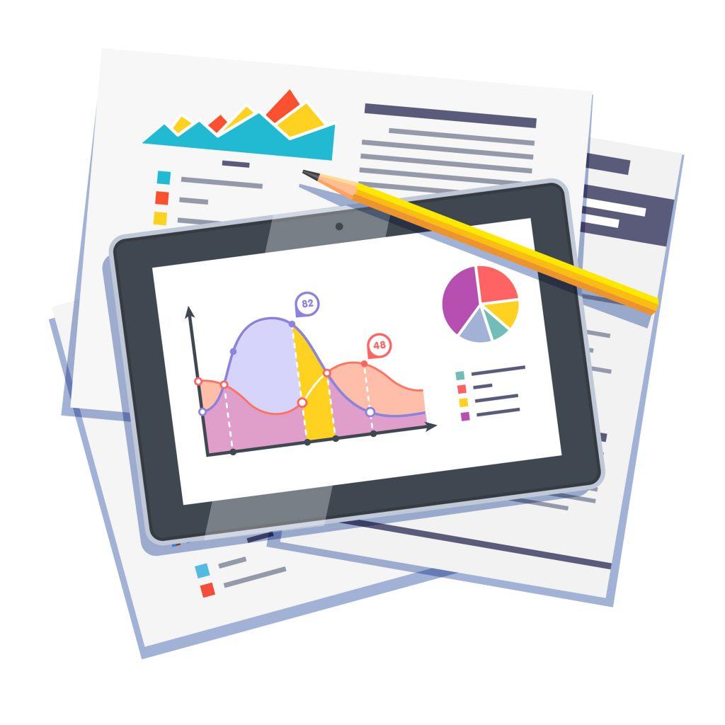 """Tablet mostrando gráficos na tela. Há um lápis sobre ele e papeis abaixo dele mostrando pesquisas e gráficos. Esta imagem representa o tema """"método para leitura e absorção de informação""""."""