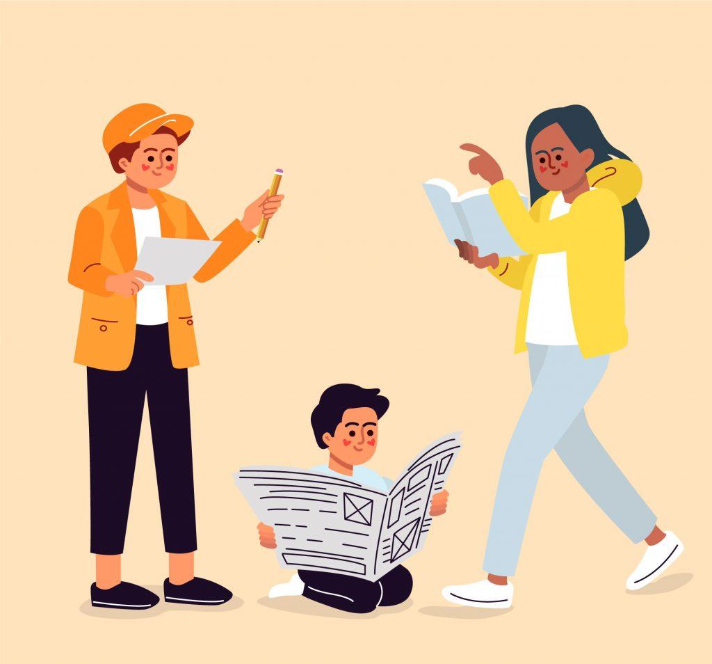 Três pessoas lendo: um rapaz em pé com um papel, uma garota em pé com um livro e um menino sentado no chão com um jornal.