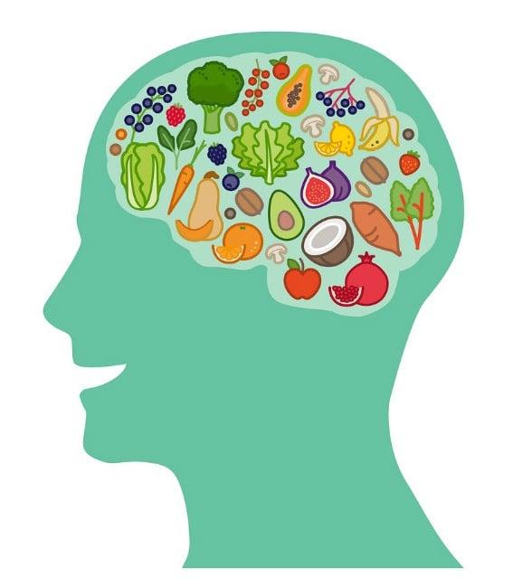Silhueta de uma pessoa. Na região do cérebro há vários alimentos desenhados.