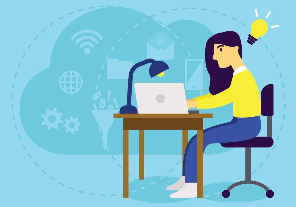 Garota sentada em uma mesa mexendo no computador. Há uma lâmpada, indicando ideia, sob sua cabeça.