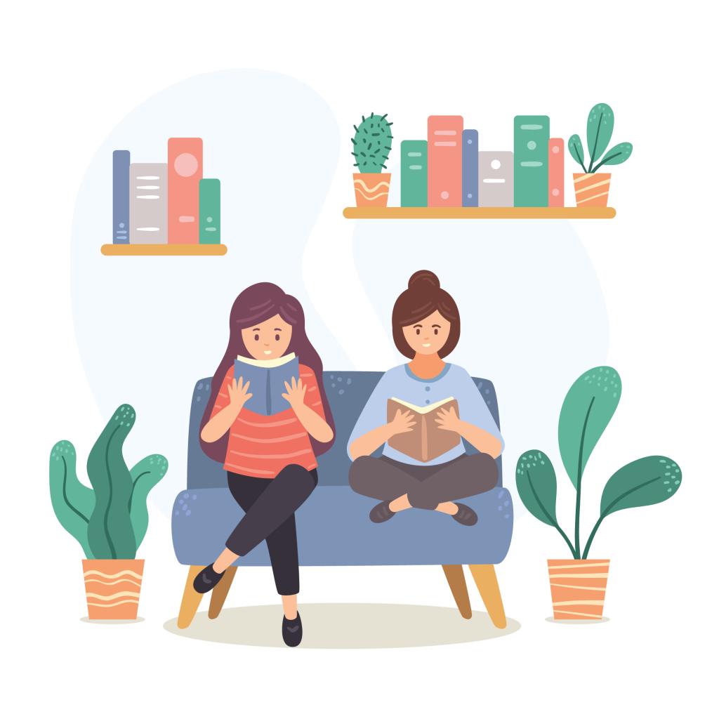 Duas garotas sentadas em um sofá lendo um livro. Ao redor delas há plantas e uma prateleira de livros.