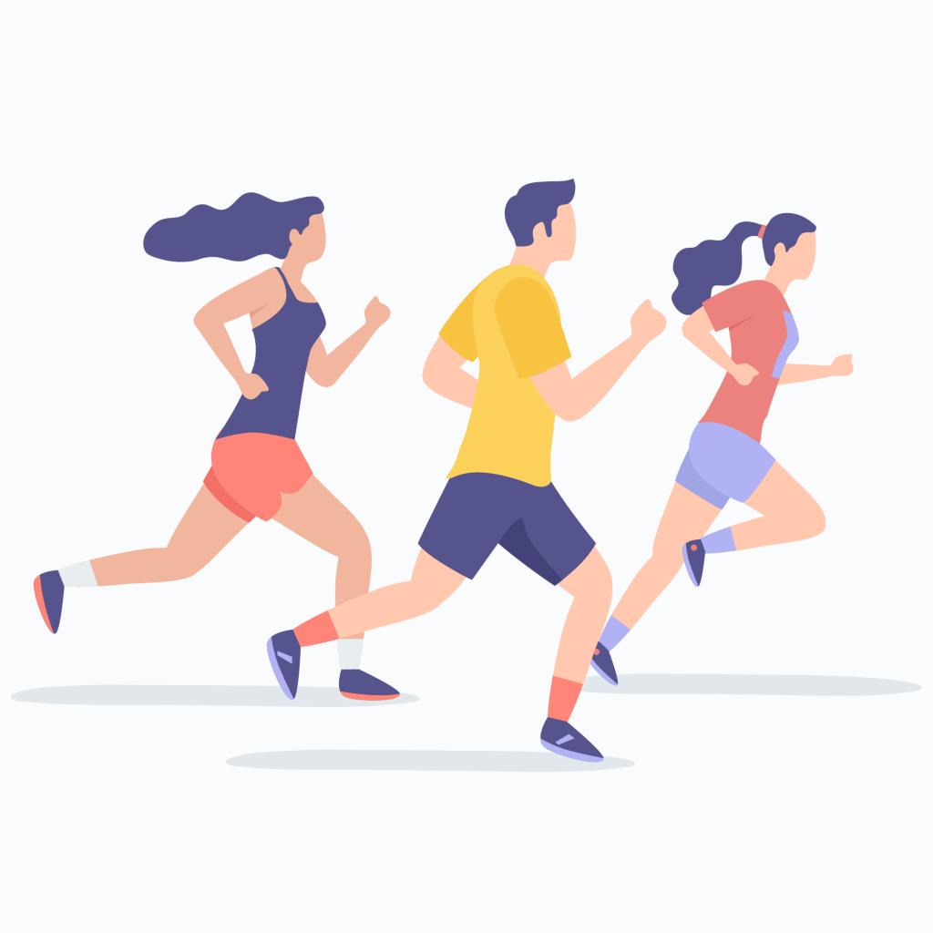 Duas moças e um rapaz correndo. Eles usam camiseta, short curto e tênis como maratonistas.