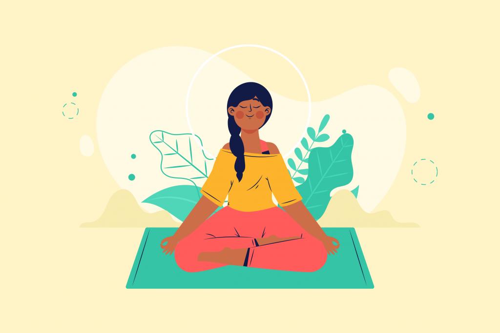 Garota sentada de pernas cruzadas e mãos sobre os joelhos: em pose de meditação.