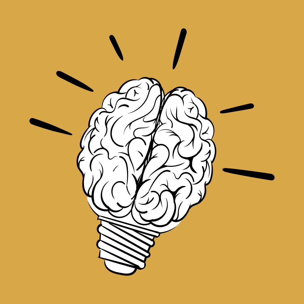 Cérebro em formato de lâmpada.