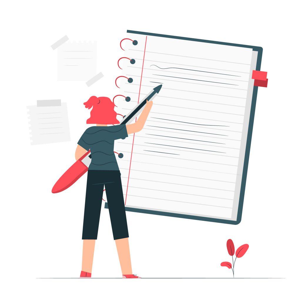 Garota de costas segurando uma caneta gigante e escrevendo em um caderno também gigante colado na parede. A imagem representa motivos para não trocar o material de estudos.