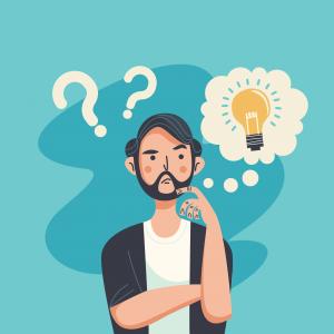 Rapaz com expressão de pensativo e mão no queixo. Há uma lâmpada acesa ao lado da cabeça dele. A ideia é representar o questionamento: não consegue aprender?