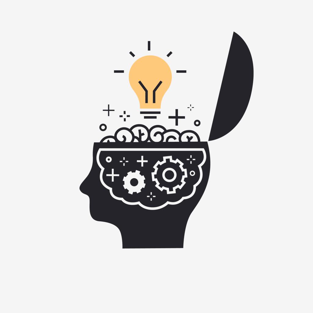 Desenho de uma cabeça aberta como se tivesse uma tampa sobre ela. Vemos uma parte do cérebro exposto. Em cima dele flutua uma lâmpada acesa.