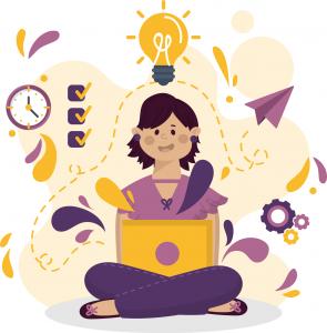 Garota sentada com as pernas cruzadas e um computador no colo. Há diversos ícones relacionados à produtividade ao redor dela.