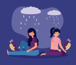 Duas garotas sentadas no chão com cara de tristes e com nuvens de chuva sobre suas cabeças