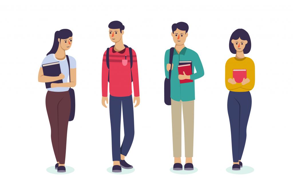 Grupo de estudantes com mochila nas costas olhando uns para os outros caminhando e segurando livros.