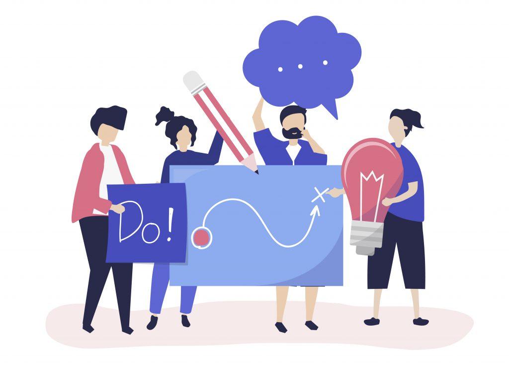 Pessoas segurando elementos que fazem referência à ideias e plano de estudos como papeis, lápis, lâmpadas, ideias e balões de fala.