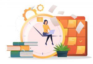 Garota sentada mexendo em um computador. Ao redor dela estão ícones que representam otimização e melhoria de perfomance como livros e engrenagens.