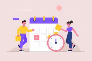 duas pessoas na frente de um calendário e um relógio