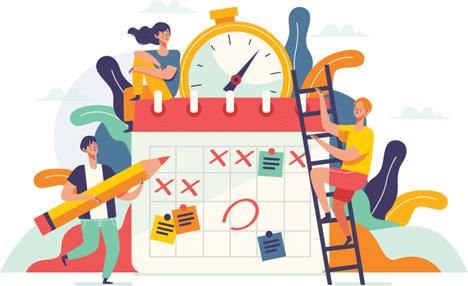 pessoas montando um cronograma para organizar os estudos