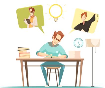 homem estudando na mesa