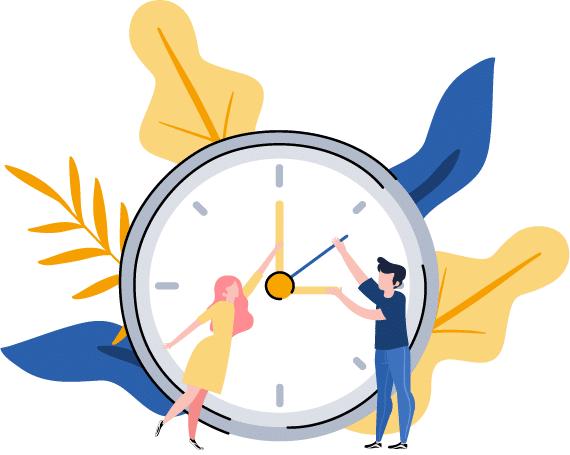 pessoas gerenciando o tempo do relógio para organizar os estudos